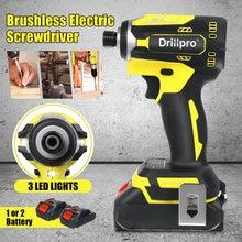 Drillpro sem fio chave de fenda elétrica velocidade 1/4 polegadas sem escova chave rechargable driver + 3 led luz 2 x bateria de lítio-íon
