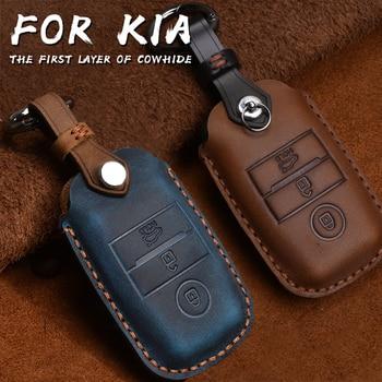 Funda para Llave Inteligente de cuero auténtico para Kia KX3/KX5/K3S/RIO/Ceed/Cerato/Optima/K5/Sportage/Sorento llaveros estilo de coche L72