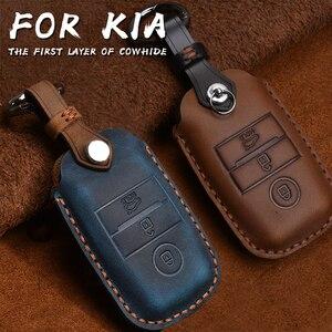 Image 1 - Genuine Leather Smart Key Case Cover For Kia KX3/KX5/K3S/RIO/Ceed/Cerato/Optima/K5/Sportage/Sorento Keychain Car Styling L72