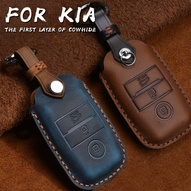 Genuine Leather Smart Key Case Cover For Kia KX3/KX5/K3S/RIO/Ceed/Cerato/Optima/K5/Sportage/Sorento Keychain Car Styling L72