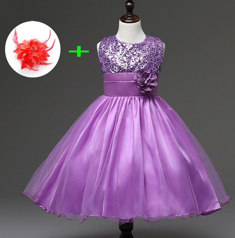 Childrens Wedding Dress for 3 Years To 11 Years Kids Girl Clothes Princess Knee Length Blue Red Party Wear Dresses for Girls 5