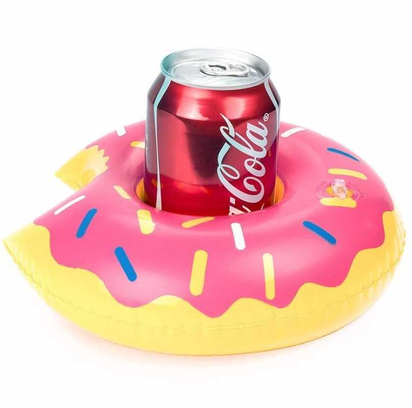 1 pçs rosquinhas beber titular água brinquedo divertido piscina jangadas inflável flutuante verão festa de praia crianças copo do telefone suportes