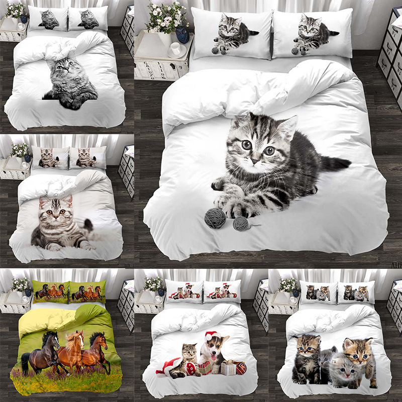 Animal Series Cat Horse Realistic Three Piece Bedding 3D Digital Printing Quilt Cover Set Four Piece Set