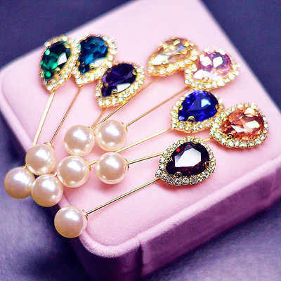 Boutonniere Rhinestone Head Scarf Brooch Pin Lapel Islamic Wedding Flower Exquisite Elegant Pearl Brooches Jewelry