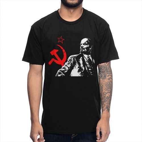 ソ連赤ソ連共産レーニンtシャツ男性ストリート半袖綿ビッグサイズオムtシャツ
