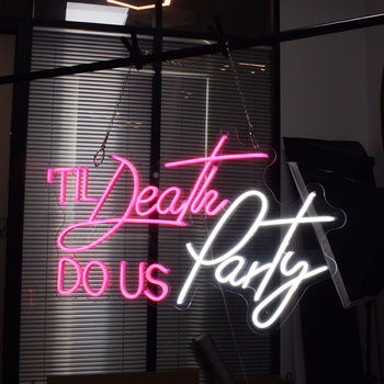 Custom Neon Sign Light  Logo Death Do Us Party 3D Led Flex Transparent Acrylic Decor Neon Pink Decor Bar Light Up Signs Display neon signs for corona guitar neon bulb sign beer bar pub neon light sign store display lamps glass with clear board dropshipping