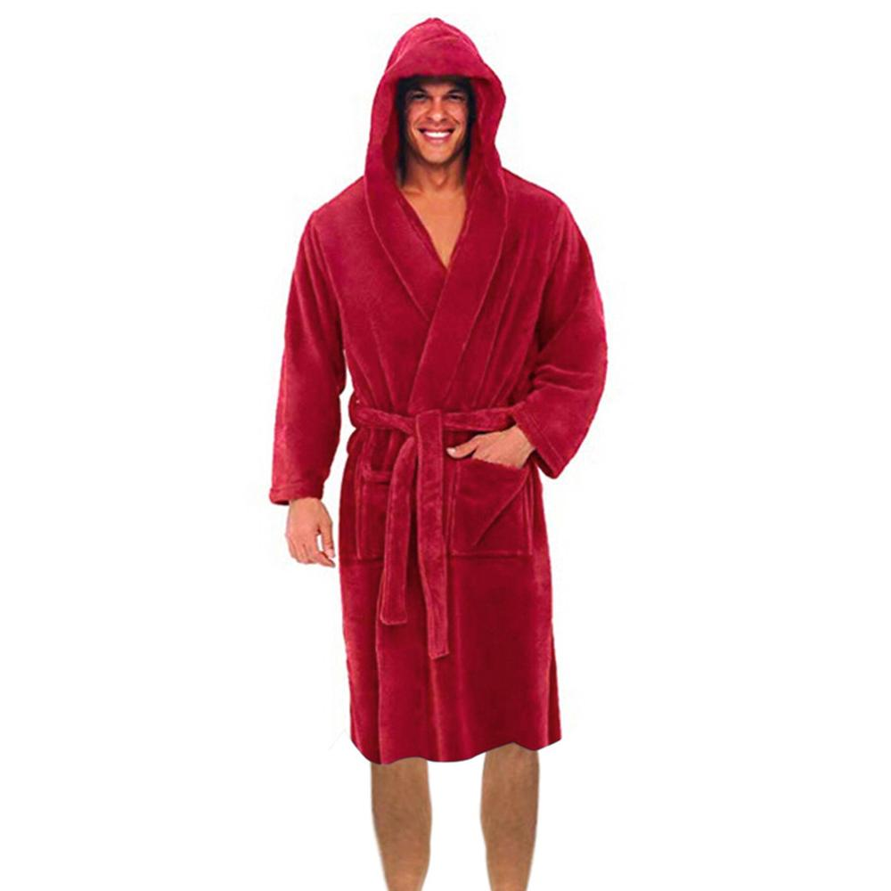 Men's Winter Lengthened Plush Shawl Bathrobe Home Clothes Long Sleeve Robe Coat Bath Robe Peignoir Homme Peignoir Homme Dropship