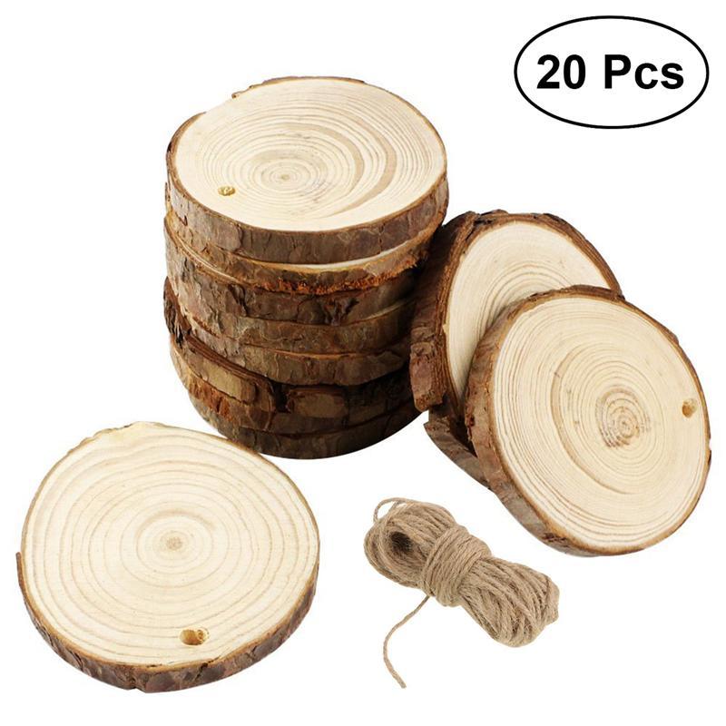 20 pièces 10-12CM bois bûches tranches disques pour bricolage artisanat centres de table de mariage avec 10M Jute ficelle