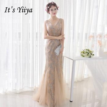It's Yiiya Gold Evening Dress Sequined Plus Size Formal Dress Women Elegant Floor-Length Sleeveless Evening Dress 2020 K193