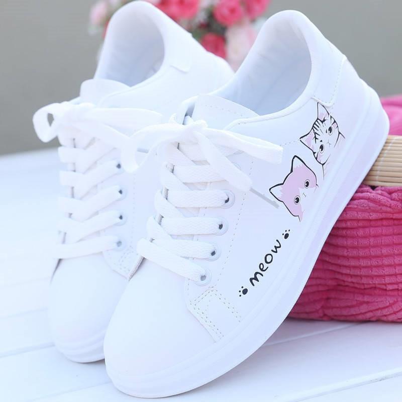 Moda feminina tênis feminino sapatos casuais impressos sapatos de lona do plutônio sapatos bonitos gato zapatos de mujer