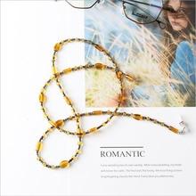 Cabo de fita para o pescoço Titular Corda Retro Eyewears Moda Chique Das Mulheres Cadeias De Óculos óculos de Sol Óculos de Leitura Resina Frisado Cadeia