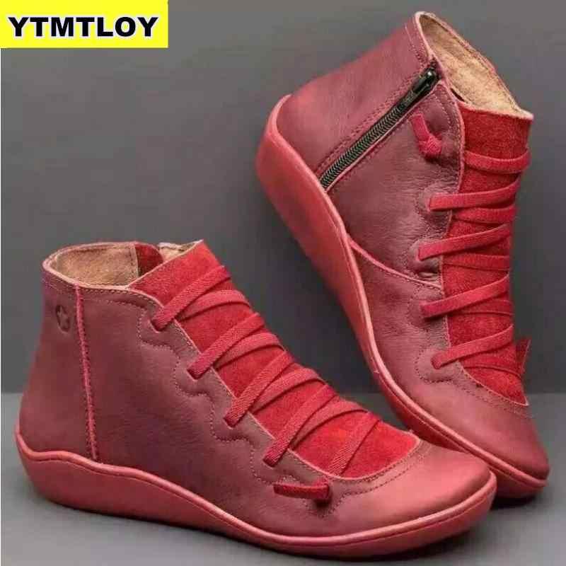 2020 PUหนังข้อเท้ารองเท้าผู้หญิงฤดูใบไม้ร่วงฤดูหนาวStrappy Vintage Punkรองเท้าแบนรองเท้าผู้หญิงรองเท้าผู้หญิงBotas mujer