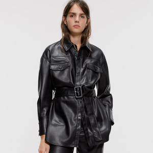 RR Slim PU Coats Women Fashion Faux Leather Jackets Women Elegant Tie Belt Waist Pockets Buttons Coats Female Ladies IP(China)