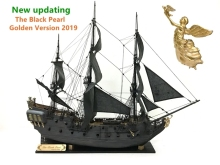лучшая цена ZHL The black Pearl Golden version 2019 wood model ship kit 31 inch