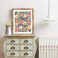 Настенная картина с цветочным принтом акварелью, художественное полотно для офиса, украшение для стен, для дома, спальни, кабинета, офиса