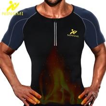 NINGMI Slimming Underwear Men's Body Shaper Waist Trainer Running Vest Gym Shirt Neoprene Sauna Corset Mesh Shapewear Sports Top
