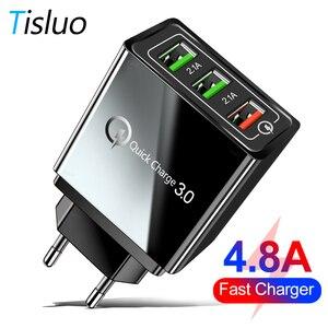 4.8A szybkie ładowanie 3.0 ładowarka USB 3 Port USB szybka ładowarka QC3.0 dla Samsung S10 A50 Xiaomi Mi9 iPhone X 7 ue usa Adapter ścienny