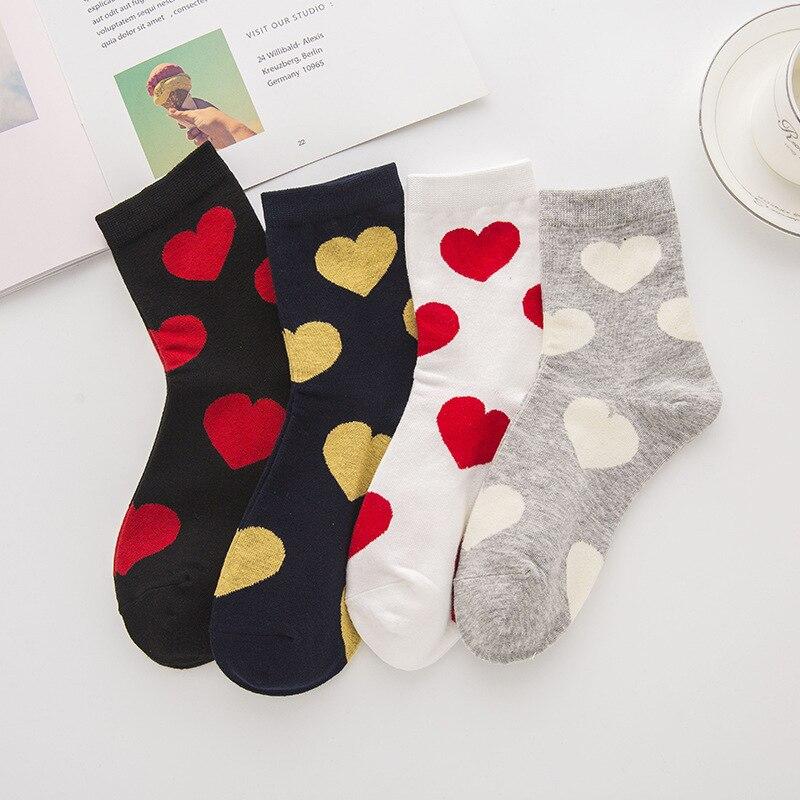 Women Socks Middle Tube Socks Cartoon Big Hearts Black And White Colorful Cute Fashion Girls Socks