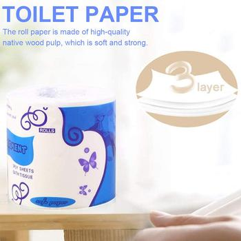 Bathroom Kitchen Toilet Tissue Paper Degradable Roll Paper For Workshop Restaurant White Household Living Room WC Tissue image