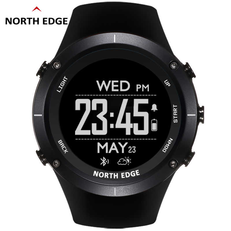 Man outdoor sport digital smart watch waterproof 50m fishing Altitude Barometer Thermometer Compass GPS Heart Rate NORTH EDGE