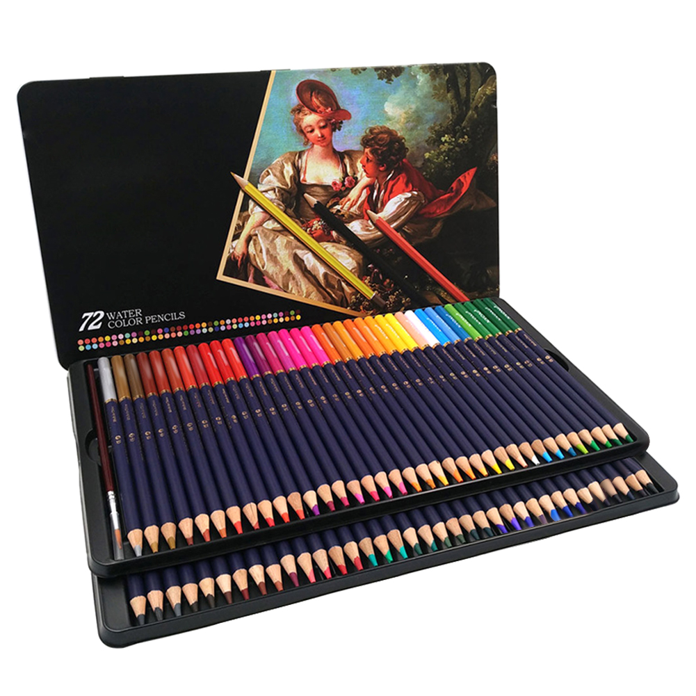 72 Pencil Oily Color Lead Paint Brush Water Soluble Colored Pencil Set Hand-Painted School Office Supplies Drawing Pencils