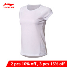Li ning mulher correndo série esportes camiseta ajuste fino 100% poliéster forro li ning conforto esporte camiseta atsn024 wts1366