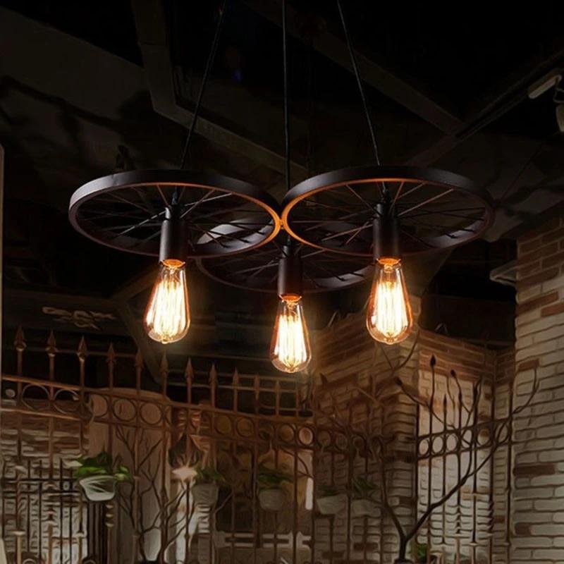 vintage industrial lamp metal wheel pendant light american light fixture living room lights hanging kitchen retro flesh light