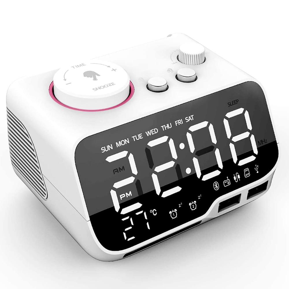 Dimmer Alarm-Clock Digital Bluetooth-Speaker Fm-Radio Temperature-Snooze Sleep-Timer