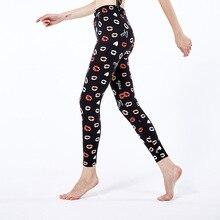 Legging High-Waist Plus-Size Women Fashion Fitness-Pants Lips-Print Elastic CUHAKCI Polyester