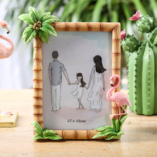 Flamingo Resin Child Photo Frame Nordic Simplicity Bamboo Home Decoration 5 6 7 Inch Creative Portrait Picture Frame creative cute wooden photo frame nordic mediterranean picture frame tabletop decoration valentines day gift