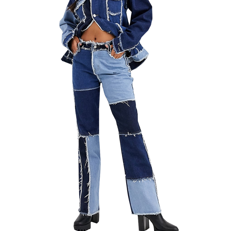 Patchwork Woman High Waist Vintage Flare Jeans Sexy Ladies Jeans Bell Bottom Jean Denim Pants Trousers