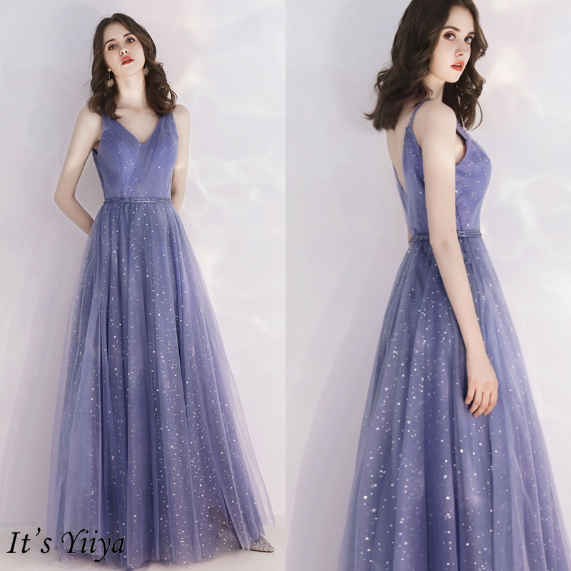 It's Yiiya Evening Dress Blue Sling Elegant Evening Dresses Long Stars Pattern Formal Gowns Plus Size LF188 Robe De Soiree 2020