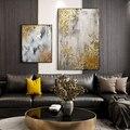 Картина маслом золотая для гостиной, абстрактная Настенная картина ручной работы, золотое дерево, абстрактная картина маслом с золотыми ли...
