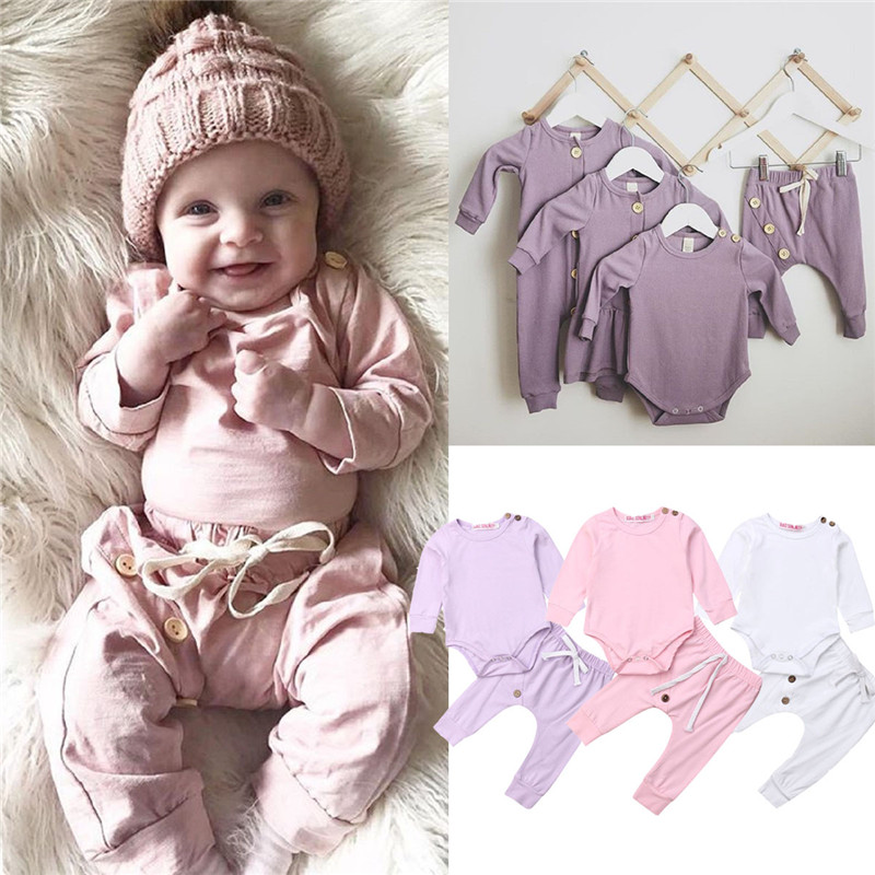 2019 Newborn Infant Baby Girl Clothes Romper Top Pants Leggings Outfit Autumn Sets