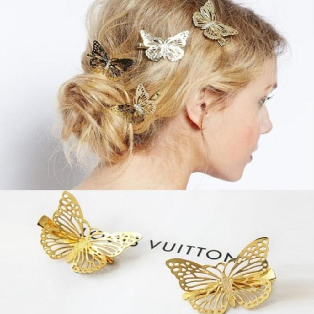 1PCS Gold Butterfly Headdress Bobby Pin Hair Pins Imitation Bridal Jewelry Hair Clip Wedding Hair Accessories For Gils Women