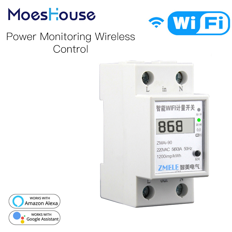 WiFi Smart Power Meter Switch Power Consumption Energy Monitoring Meter 110V 220V Din Rail Smart Life/Tuya App Remote Control