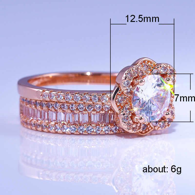 Luxus Weibliche 925 Silber Kristall Zirkon Ring Set Vintage Rose Gold Hochzeit Ringe Für Frauen Blume Braut Engagement Ring