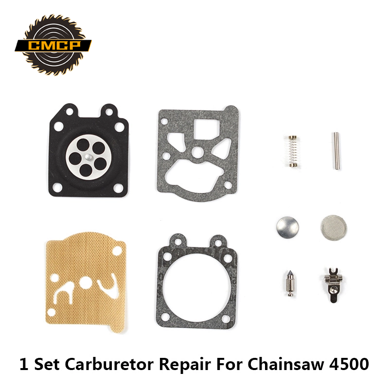 1 Set Carburetor Rebuild Kit Fit Chainsaw 4500 Carburetor Diaphragm Gasket Kit Chainsaw Repair Kit Garden Tool Parts