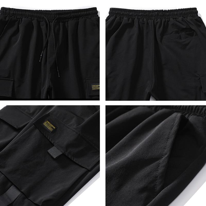Streetwear Hip Hop Black Harem Pants Men Elastic Waist Punk Pants Ribbons Casual Slim Jogger Pants Men Hip Hop Trousers