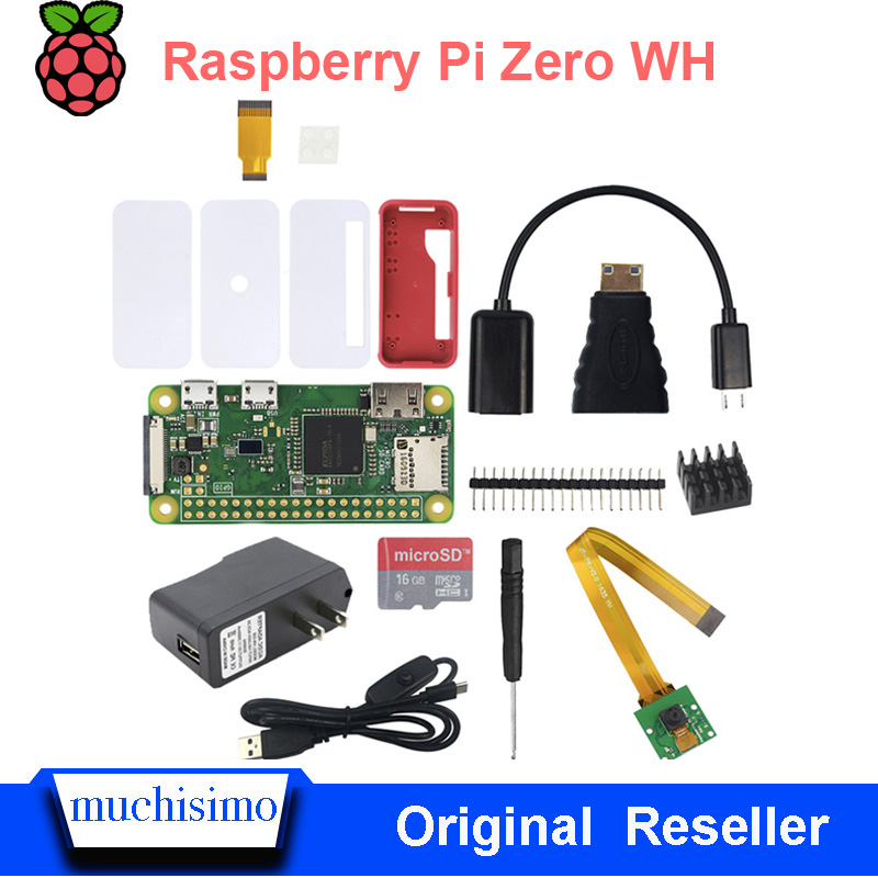 Original Raspberry Pi Zero WH Wireless Bluetooth WIFI Welding Header Pin With Power Adapter Heatsinks Cable SD Card Case