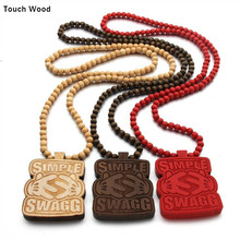 Wood  pendant letter SWAG necklace Hip-hop jewelry