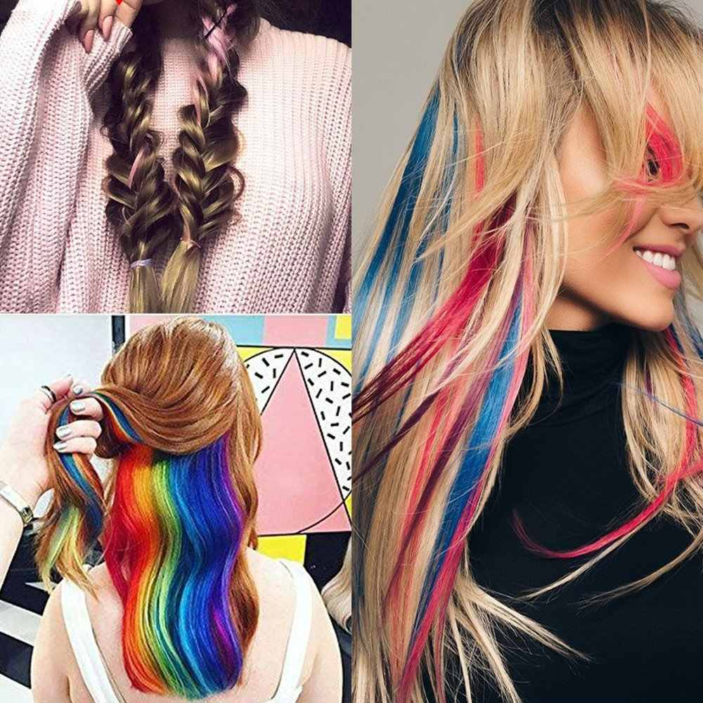 AOSI طويل مستقيم الملونة تسليط الضوء على وصلات شعر اصطناعية كليب في قطعة واحدة قوس قزح خط الوردي الشعر السواحل للنساء فتاة