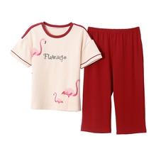 Plus rozmiar M 4XL kobiety piżamy zestaw lato z krótkim rękawem piżamy 100% bawełna kobiety piżamy śliczne Pijamas