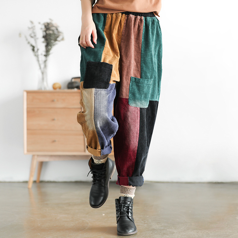 Casual Women Corduory Pants 2019 New Autumn Spring Colorful Patchwork Elastic Waist Harem Fashion Loose Women Trousers