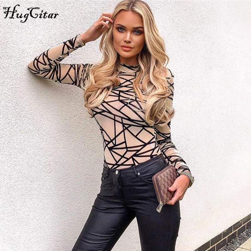 Hugcitar 2019 Long Sleeve Print Sexy Bodycon Bodysuit Autumn Winter Women Streetwear Outfits Club Body