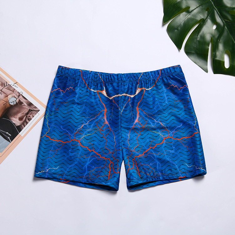 Men Printed Swimming Trunks Quick-Dry Dacron Men Slimming Comfortable Summer Beach Shorts Loose-Fit Swimming Trunks Men's