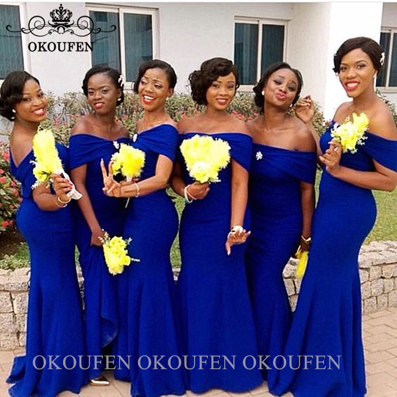 African Women Royal Blue Bridesmaid Dresses Mermaid 2020 Off Shoulder Sukienki Na Wesele Damskie Long Wedding Guest Dress Party