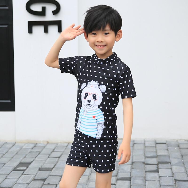 Middle And Large BOY'S CHILDREN'S Swimwear Half Sleeve Sun-resistant Warm Polka Dot Sportswear Haiyishan Haiyishan