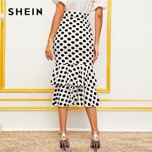 Image 2 - SHEIN Black And White Polka Dot Layered Fishtail Hem Elegant Skirt Women 2019 Autumn High Waist Wide Waistband Party Midi Skirts