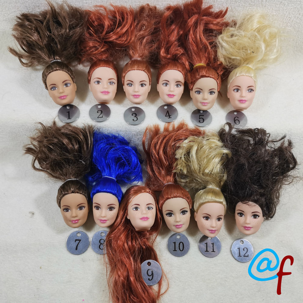 B6-2 Original Foreign Trade Northern Europe Freckles Beauty 1/6 OOAK NUDE Rarely Doll Head Mussed Dark Orange Hair For DIY